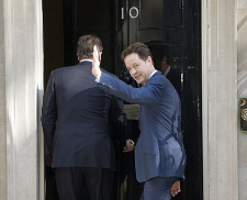 Clegg and Cameron enter No 10