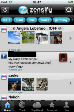 a screenshot of Zensify feed screen