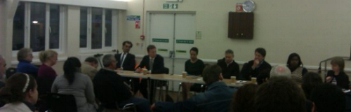 picture of the top table at Hackney CLP Euro Hustings