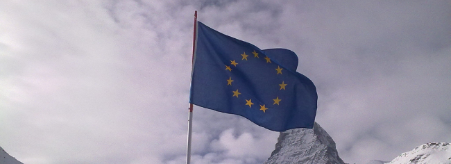 The EU flag and Matterhorn