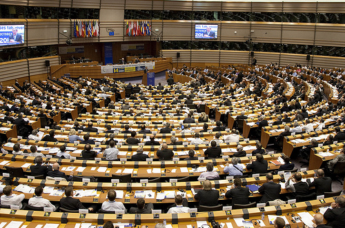 The European Parliament Chamber in Brussels